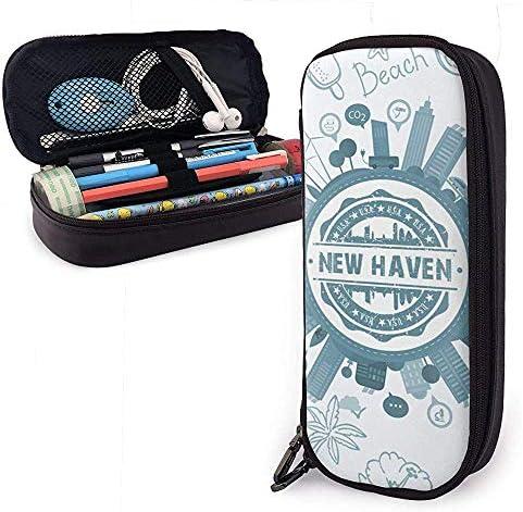 New Haven Connecticut Estuche de cuero de alta capacidad Estuche de lápices Estuche de papelería Organizador de caja Organizador Escolar Bolígrafo Bolso cosmético portátil: Amazon.es: Oficina y papelería