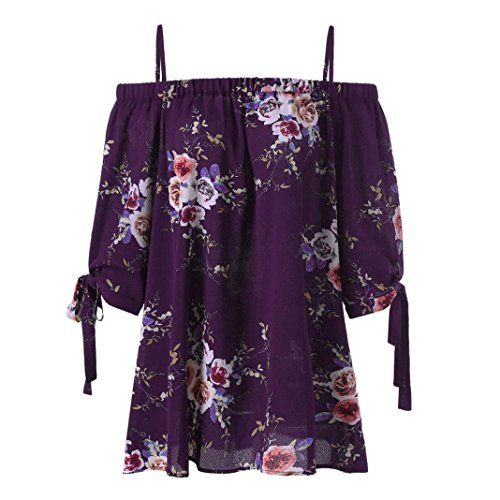 Ruched Cami Set - FEITONG Fashion Womens Floral Print Cold Shoulder Blouse Casual Tops Camis Plus Size, XL-5XL(XXX-Large,Purple)