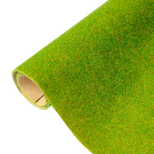 RuiyiF Model Train Grass Mat 16.1 x 39.4 Inches, Artificial Model Grass for Crafts Decoration Train Scenery Miniature Doll House (Model Dolls)