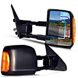 Driver and Passenger Power Tow Side View Mirror Heated Signal Lamp Manual Telescopic Replacement Tow Mirror for 2007-18 Toyota Tundra