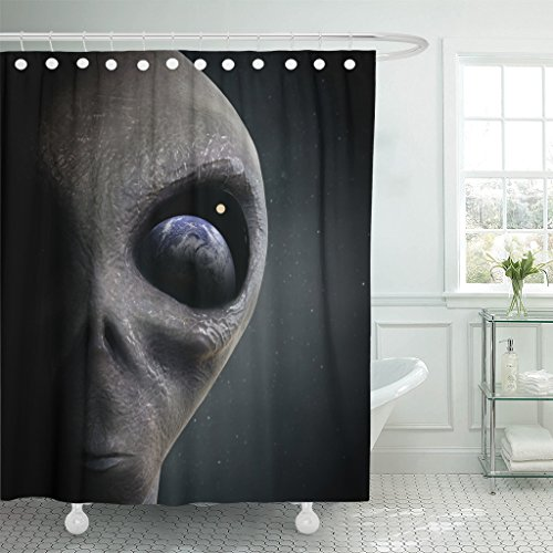 VaryHome Shower Curtain Blue Ufo Alien Looking at the Earth Gray Invasion Paranormal Waterproof Polyester Fabric 72 x 72 inches Set with Hooks by VaryHome