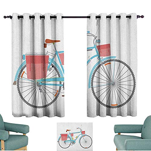Bicycle,Kids Decor Indo Curtain Drape Classic Touring Bike with Derailleur and Saddlebags Healthy Active Lifestyle Travel 52