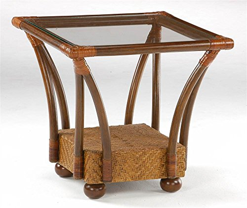 Night And Day Furniture End Table - Night & Day Furniture Square End Table In Wood & Rattan w Glass Top