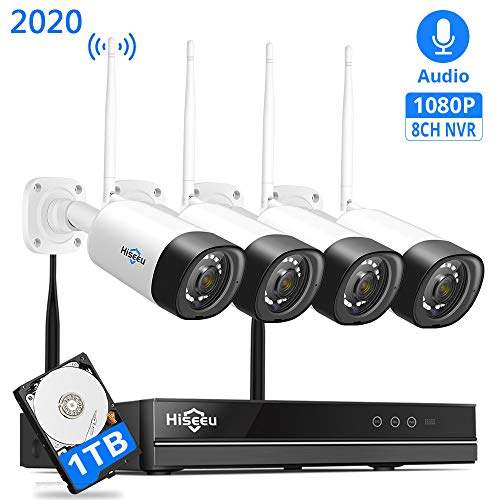 【Encryptible,Audio】 Hiseeu Wireless Security Camera System,8Channel NVR 4Pcs 1080P Cameras,Mobile&PC Remote,Outdoor IP66 Waterproof,Night Vision,Motion Alram,Plug&Play, 24/7 Recording,1TB HDD
