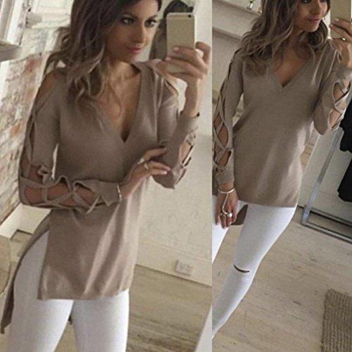 Bluestercool Moda mujer Casual manga hueco camisa blusa Caqui