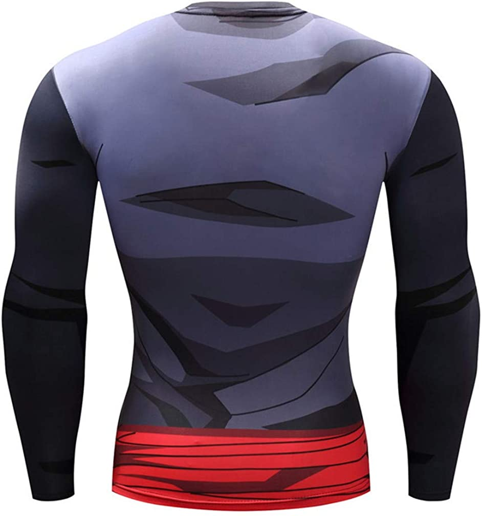 Only beautiful Men?s Anime Dragon Ball Z Compression Shirts 3D Naruto Slim Muscle Sportswear Tight Blouse