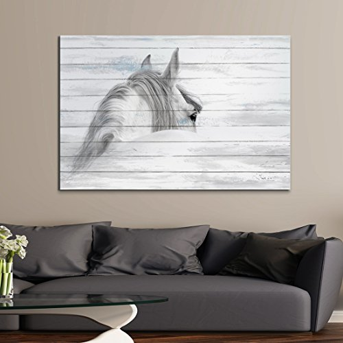 ARTLAND Giclee Canvas Prints Framed Canvas Artwork 24x36-inch 'Glance Back from Horse ' Gallery-wrapped Animal Painting Wall Art for Living Room