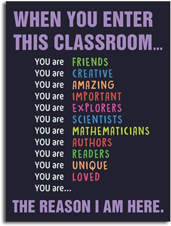"Unframed Classroom Art Print Classroom Rules Colorful Lettering Painting, Set of 1(12"" x16"" )Inspirational Educational Supplies Canvas Poster For Classroom Kids Room Decor"