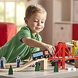 """Melissa & Doug Wooden Railway Set, Vehicles, Construction, 130 Pieces, 17"""" H x 5"""" W x 28"""" L"""