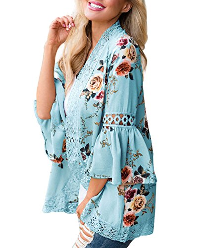 Spiaggia Aperto Stampa Donna Manica Floreale Chiaro Blusa Kimono Lungo Blu Cardigan Top Cover Up Junjunbag 1qx0vE5wR