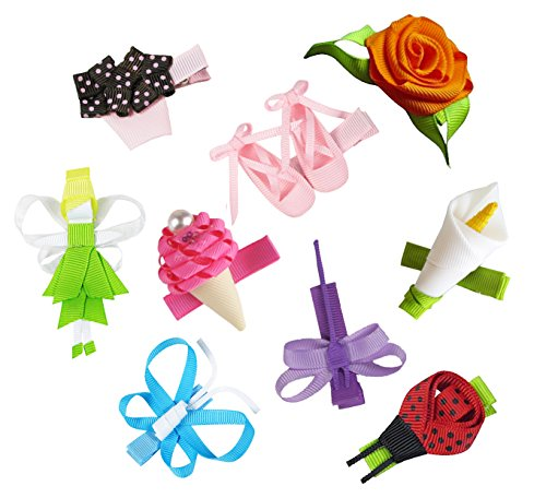 HipGirl 9pc Set Hip Girl Hair Bow Clips, Ladybug, Butterfly, Ballet Shoes, Fairy etc