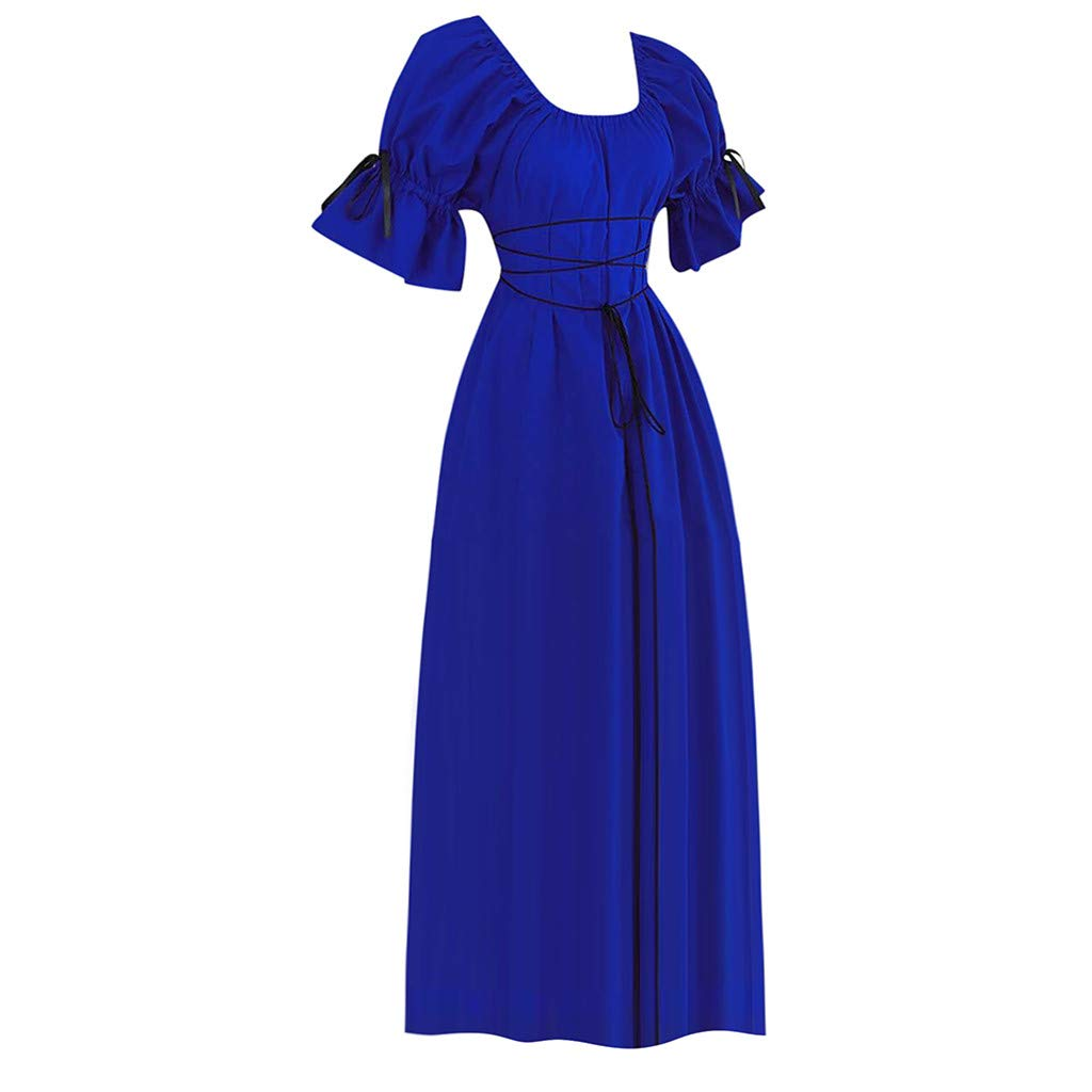 Libermall Women's Dresses Short Petal Sleeve Vintage Style Evening Party Medieval Princess Long Dress Blue