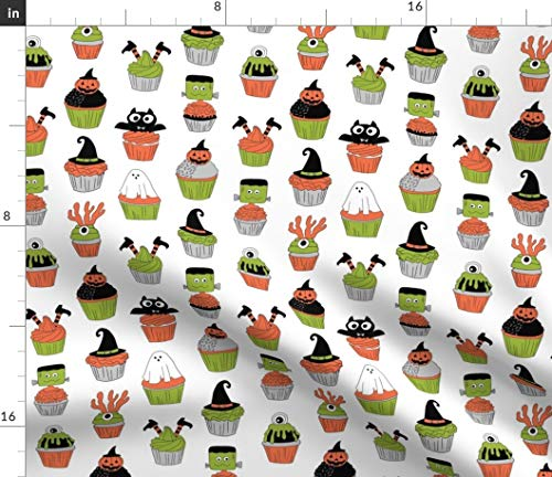 Halloween Cupcakes Fabric - Spooky Scary Food Cupcake Witch Frankenstein Ghost Print on Fabric by The Yard - Chiffon for Sewing Fashion Apparel Dresses Home Decor ()