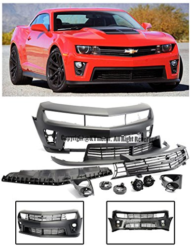 For 2010-2013 Chevrolet Camaro | EOS ZL1 Style Front Replacement Bumper Cover Upper Lower Grille W/Fog Lights