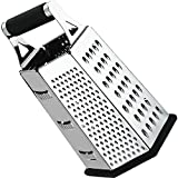 Cheese-Grater-Vegetable-Slicer Stainless Steel – 6-sides , 9.5 Inch Height, Rubber Handle, Non Slip Rubber Bottom by Utopia Kitchen