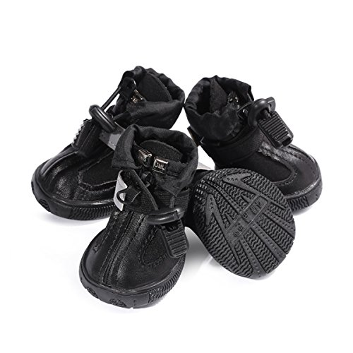 LESYPET Dog Boots Waterproof Shoes for Medium to Large Dogs with Reflective Velcro Rugged Anti-Slip Sole Black 4PCS