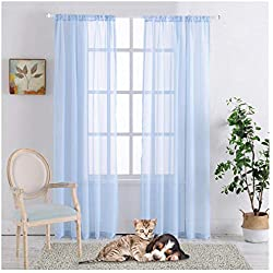"""Rod Pocket Sheer Curtains Window Voile Treatment Panels for Bedroom/Living Room Drapes Semi Transparent Poly Linen Textured Elegance Curtains Set of 2 Panels (54"""" W x 84"""" L, Blue)"""