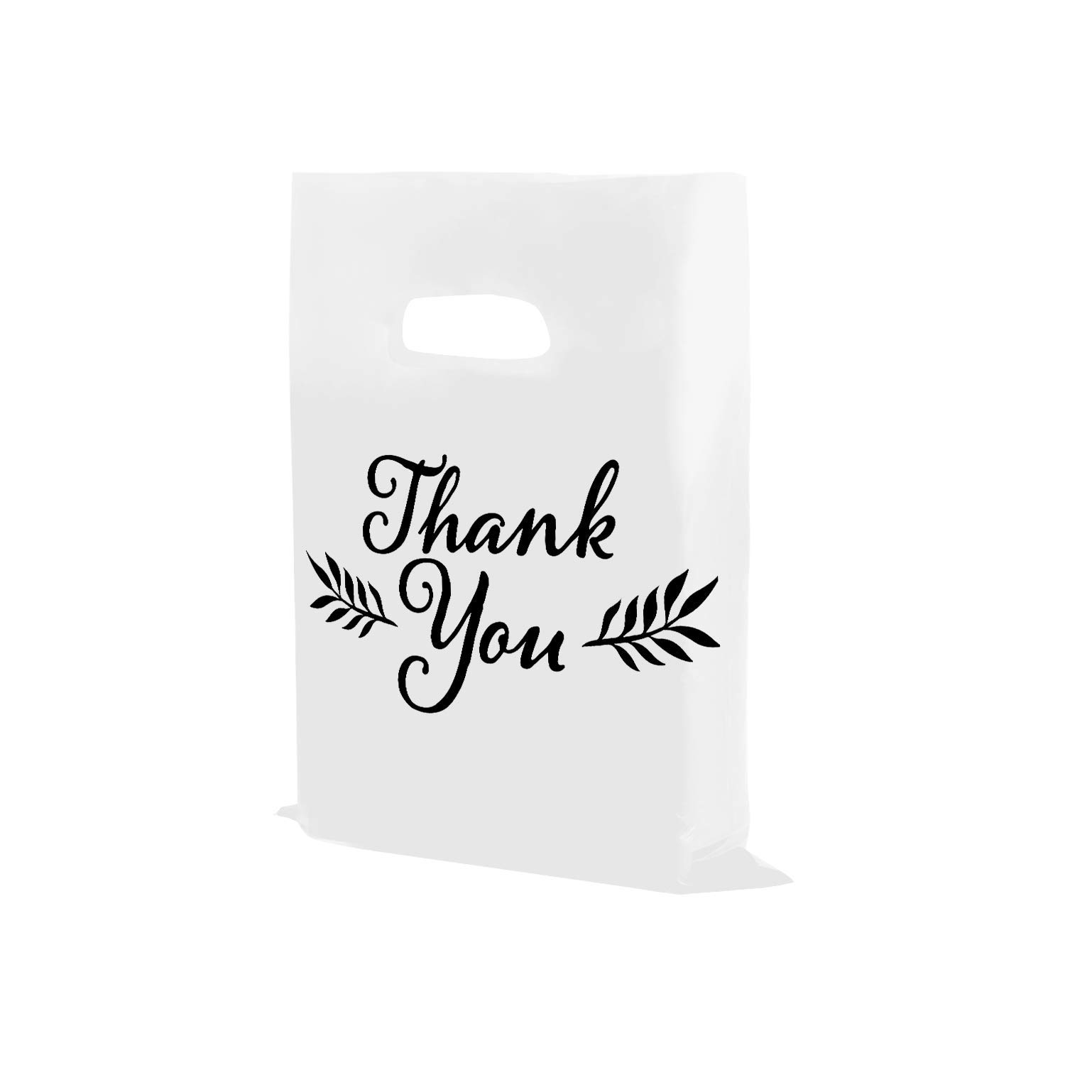 Houseables Thank You Merchandise Bags, Retail Shopping Goodie Bag, Plastic, 16'' x 18'', 100 Pk, 1.75 Mil Thick, Low Density, Glossy, Black and White Color, with Handles, for Stores, Boutiques, Clothes