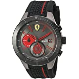 Ferrari Men's Quartz Stainless Steel and Silicone Watch, Color Black (Model: 830341)