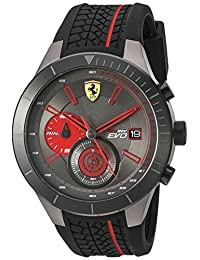 Ferrari Men's Quartz Stainless Steel and Silicone Automatic Watch, Color: Black (Model: 830341)