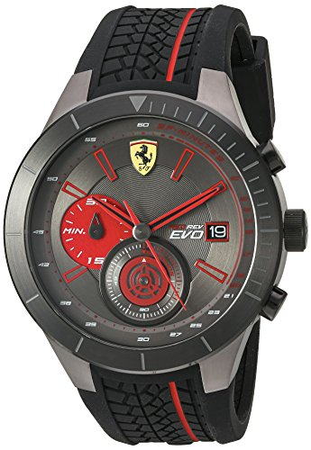 Ferrari Men's Quartz Stainless Steel and Silicone Watch, Color:Black (Model: 830341) by Ferrari