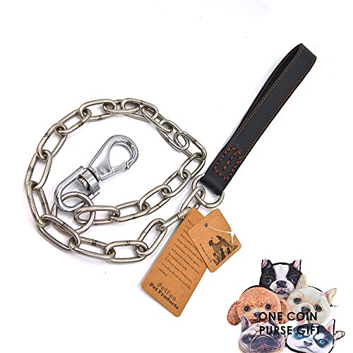 PetFun Black Updraded Supper Strong Anti- Chewing Stainless Steel Chain Leads with Soft Leather Handle,4FT - Traditional 4' Handle Pull