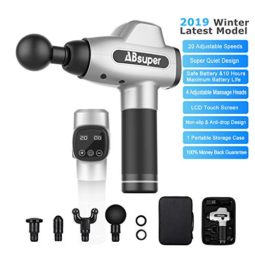 Great Muscle Massager Massage Gun 2019 Winter Upgraded, ABsuper High-Intensity Percussion Massager for Pain Relief, Super Quiet 20 Speeds Rechargeable Muscle Massager with Four Different Heads for Different Muscle Groups 2019