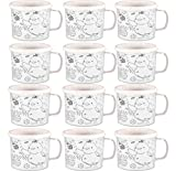 Henbrandt Colour Your Own Easter Time Mug Plastic Drinking Cups Kids Art Craft Toy Gift Drink Mugs (12 Mugs)
