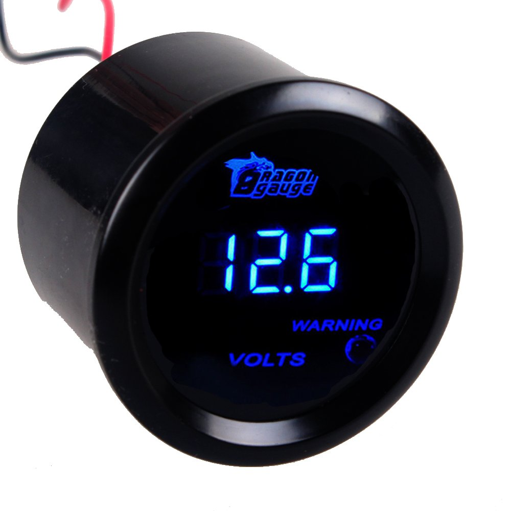 Etopars&Trade; 2'' 52mm Black Car Auto Digital Blue LED Light Volt Voltage LED Gauge Meter by Etopars