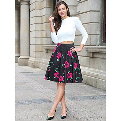 Falda plisada del patín de la falda de la alta cintura de las mujeres floral / de los lunares Negro Rosa-Rojo