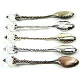 5 Pcs/Set Retro Royal Vintage Palace Carved Coffee Tea Mini Ice Cream Scoop Spoon