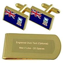 Bandera de las Islas Malvinas tono dorado juego de gemelos Clip de dinero regalo grabado