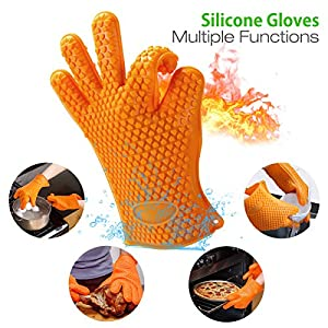 Soft Silicone BBQ Gloves, Housmile Cooking Grill Glove 2 BBQ Meat Shredders Claws, 2 Grill Silicone Brush, Super Value Set for Kitchen
