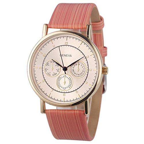 Creazy® Geneva Faux Chronograph Ladies Women Wood Leather Analog Quartz Wrist Watch (Pink) - Diamond Chronograph Bracelet
