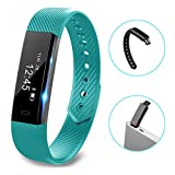 Fitness tracker watch - Hembeer V1 Smart Band with Step Tracker - Pedometer Bluetooth Bracelet Activity Tracker Sleep Monitor - Calories Track Sweatproof Health Band for iPhone & Android phones - Teal