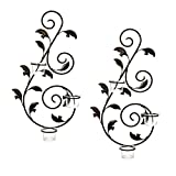 "Hosley's Set of 2 Iron Wall Sconce w/Tea lights- 18"" High. Great Wall Decor. Includes Free Tea Lights. Ideal for Home, Spa. As Party, Wedding Gift For Tea Light candles only. Glass holder included. O4"