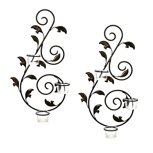 Decor Holder Glass Garden Candle - Hosley Set of 2 Iron Leaf Wall Sconce w/Tea Lights 18