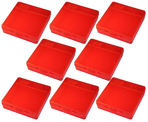 - MTM 100 Round Flip-Top 40/45/10MM Cal Ammo Box - Clear Red (8 Pack)