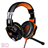 G2000 Stereo Gaming Headset With Mic, LED Lights, Volume Control For PC Game Bass Over-Ear Headphones (Blue+Orange)