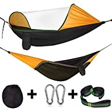 Cambond Camping Hammock, Hammock with Mosquito Net Portable Parachute Lightweight Hanging Hammocks with Tree Straps Hammock Tent Bed for Outdoor Backpacking Travel Hiking Beach Fishing Backyard