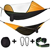Cambond Camping Hammock with Mosquito Net, Portable Parachute Lightweight Hanging Hammocks with Tree Straps Travel Hammock Tent Bed for Outdoor Backpacking Hiking Beach Fishing Backyard