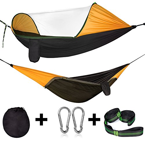 Cambond Camping Hammock with Mosquito Net, Portable Parachute Lightweight Hanging Hammocks with Tree Straps Travel Hammock Tent Bed for Outdoor Backpacking Hiking Beach Fishing Backyard by Cambond