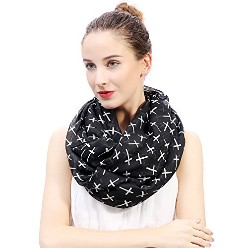 Cross Scarf (Lina & Lily Cross Print Infinity Loop Scarf for Women Lightweight (Black with White Cross))