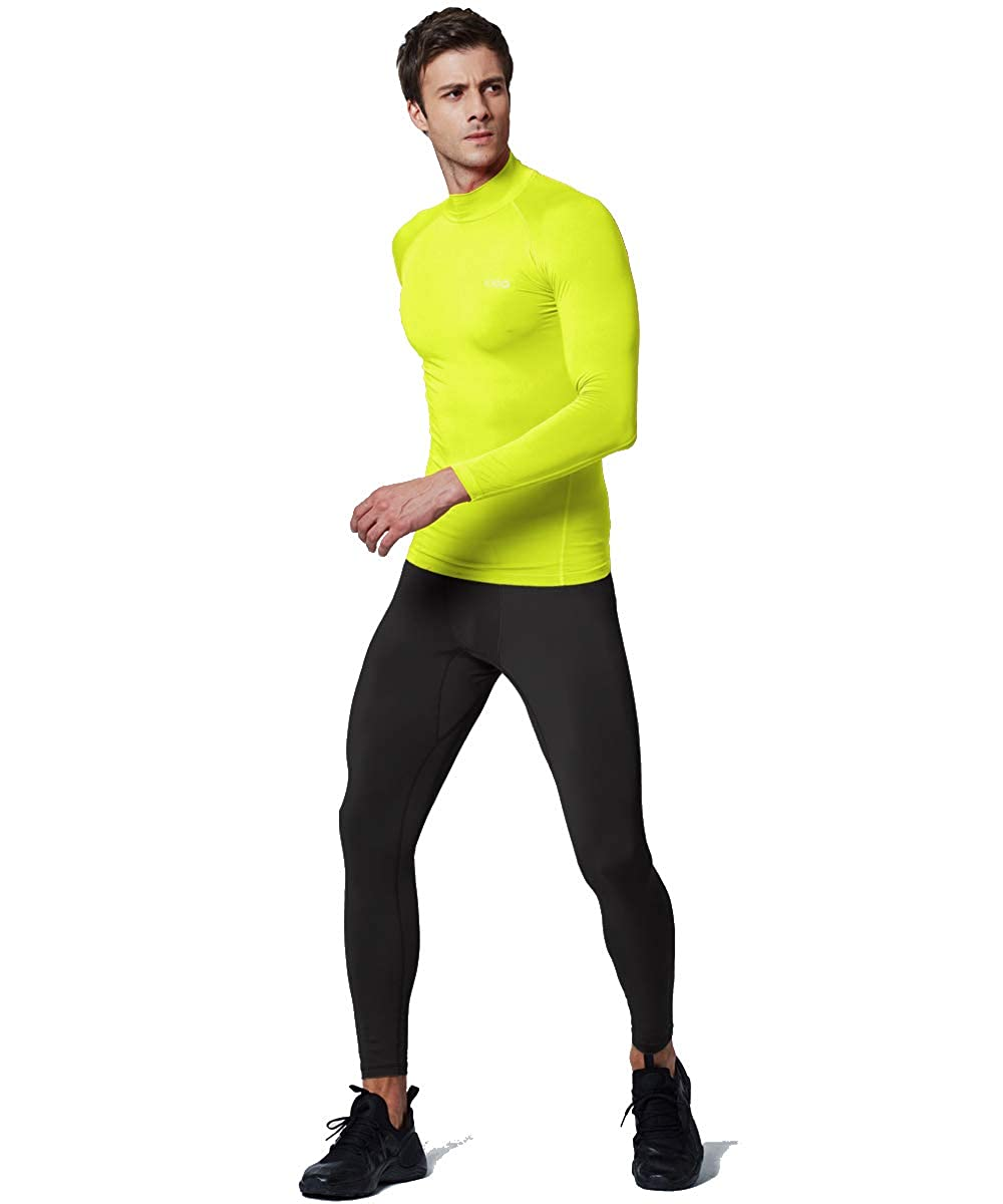 EXIO Mens Mock Compression Baselayer Top Cool Dry Long-Sleeve Shirt EX-T02