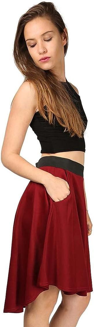 Oops Outlet Womens Flared Back Pocket Skater Swing Scuba Midi Length Knee Skirt