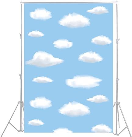100x150cm cielo Azul blanco nubes fotografía telón de fondo fondo decoración para fiestas cumpleaños mesa mascota bebé recién nacido Photo Props D-3284: Amazon.es: Electrónica