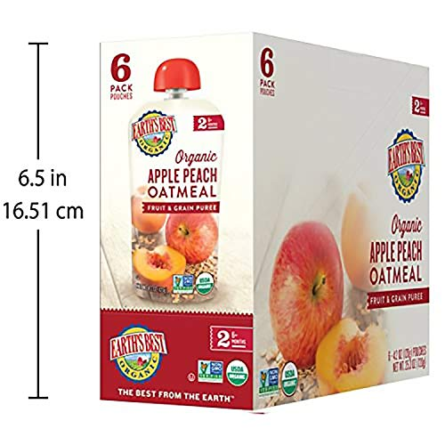 51UilIPBzFL - Earth's Best Organic Stage 2 Baby Food, Apple Peach And Oatmeal, 4.2 Oz. Pouch (Pack Of 12)