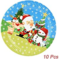 10 Pcs Christmas Santa Paper Plates, Sacow Festive Supplies Party Tissue Decoration