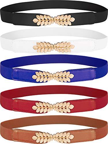 Tatuo 5 Pieces Women Skinny Waist Cinch Belt Stretchy Waist Belt Retro Elastic Waistbelt Leaf Interlocking Buckle Elastic Belt for Dress