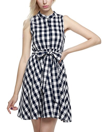 ZEARO Damen Casual Plaid Minikleid Sommerkleid Strandkleid ...